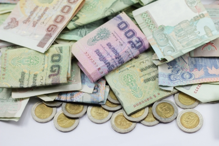 thai Currency on white background photo