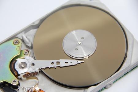 harddrive: small open harddrive on white background Stock Photo