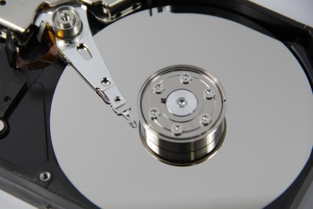 Close-Up open harddrive on white background photo