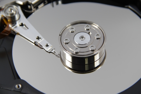 Hard Disk Drive, inside of HDD isolated on white background photo