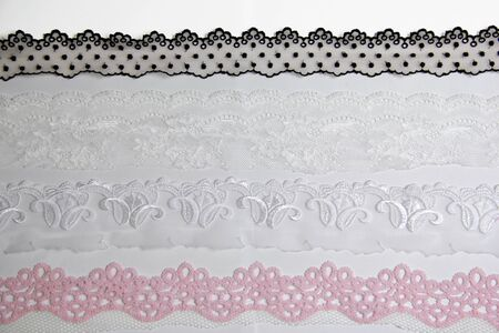 ornamentation: lacework line on white background Stock Photo
