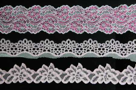 folwer: folwer lacework line on black background Stock Photo