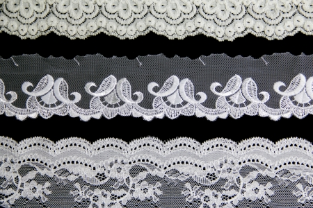 folwer lacework line on black background Stock Photo