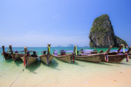 many Longtail boat at Phra Nang Beach Stock Photo