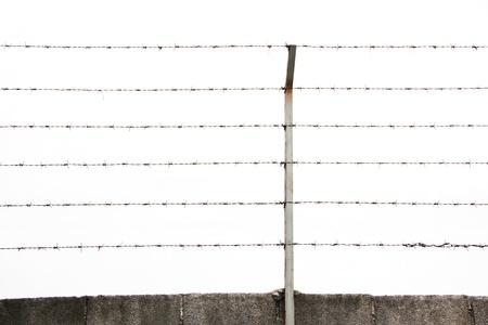 barbed wires: Alambres de p�as y postes de acero aislado
