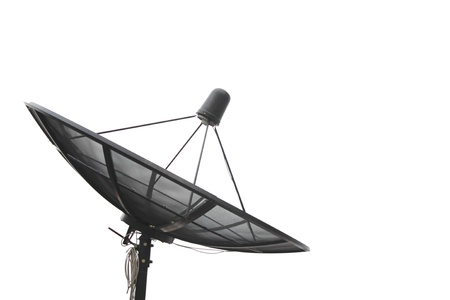 parabolic: Black satellite isolated on white background Stock Photo