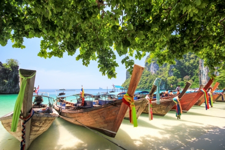 Longtail boat at Hong island Krabi Thailand Stock Photo