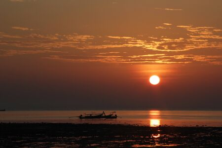 Silhouette Longtail boat in the Morning at railay thailand