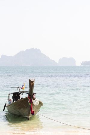 Longtail boat on Phra Nang Beach krabi thailand
