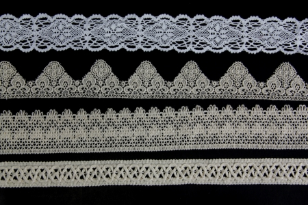 chequered ribbon: lacework line on black background