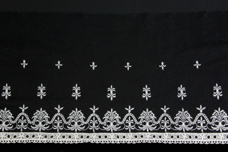 lacework: white antique lacework on black background