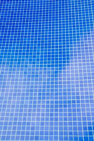 blue white kitchen: Hotel swimming pool mosaic creating