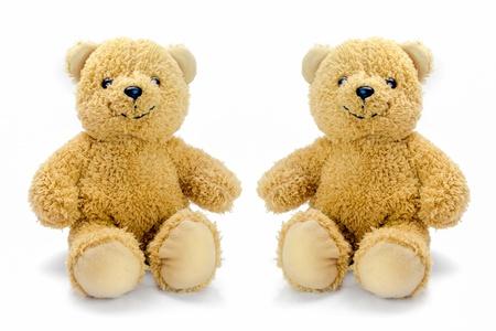 sitting bear toy isolated on white background Standard-Bild