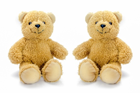 baby bear: sitting bear toy isolated on white background Stock Photo