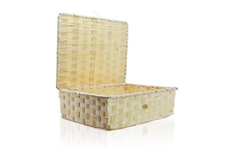 Empty bamboo craft basket  Isolated photo