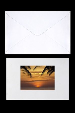 isolate postcard with packet on background photo