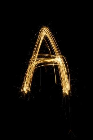 sparkler firework light alphabet Stock Photo - 16427121