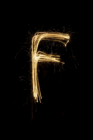 sparkler firework light alphabet Stock Photo - 16427122