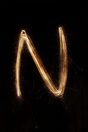 sparkler firework light alphabet Stock Photo - 16427137