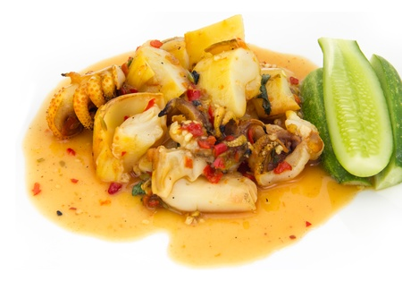 squid grilled in spiciness sauce on white background