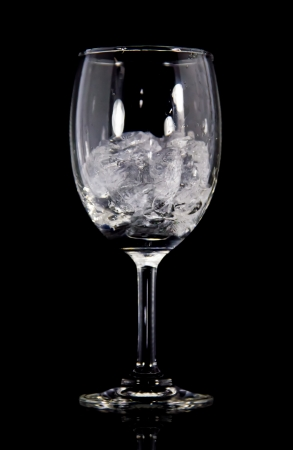 ice in glass  isolated on a Black background