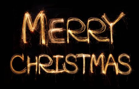 merry christmas  written with Sparkling figures  Stock Photo