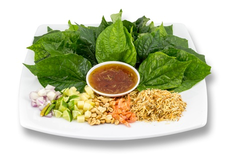 Food wrapped in leaves,A nutritious snack in Thailand Stock Photo