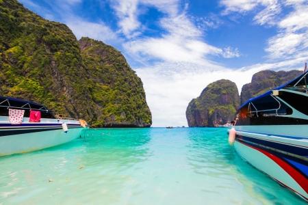 speed boat park in beautiful sea at Maya Bay,phi phi  island,krabi,thailand photo