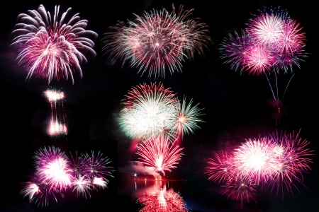 Long Exposure of Fireworks Against a Black Sky Stock Photo - 17469067