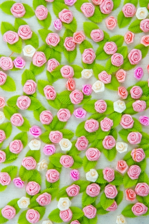 Pink fabric flower wallpaper Stock Photo - 17469157