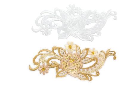 neckline: Isolate Flower Neckline embroidery fashion Stock Photo