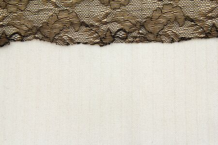 Lace flowers frame close up isolated on Fabric texture Stock Photo - 17469155