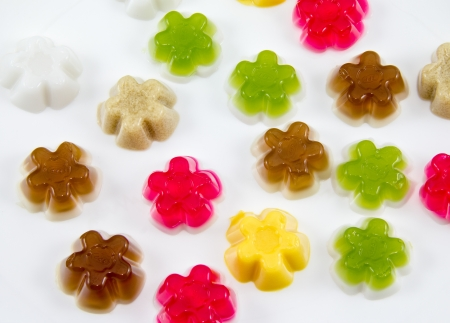 colorful gelatin on a white background Stock Photo