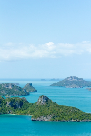 Landscape bird eye view of angthong national marine park ko samui thailand photo