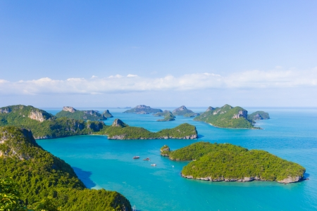 Landscape bird eye view of angthong national marine park ko samui thailand