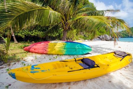 Kayaks under coconut tree on the tropical beach at Ang Thong Marine National Parkpark ,Samui Island,Surathani, Thailand Stock Photo