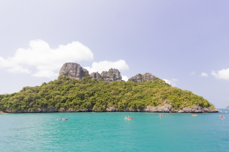 Kayaking at Angthong national marine park close to Koh Samui, Thailand photo