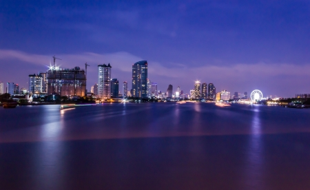 Bangkok cityscape with river at night  Chao Phraya river scene in Bangkok City, Thailand,cityscape photo