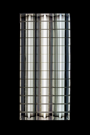 t5: close up of a fluorescent tube on a black background