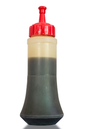 squirting ketchup: Plastic soy sauce bottles  on white background