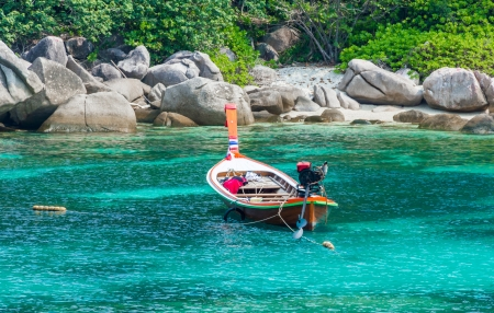 koh tao: Boat at Koh Tao island at southern of Thailand