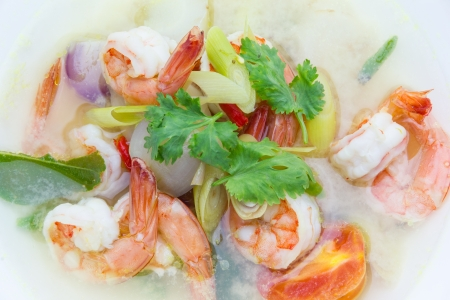 Tom Yum Goong served in white bowl