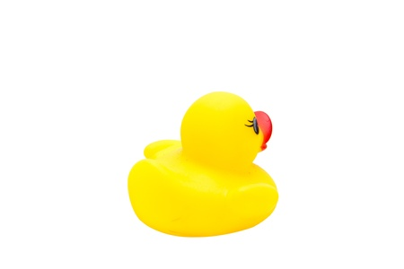 Cute yellow rubber duck isolated over white background Stock Photo - 19577168