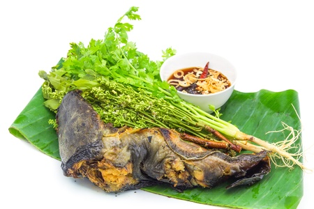 quinine: Catfish Grilled and boiled neem with Sweet sauce Delicious Thai style Food