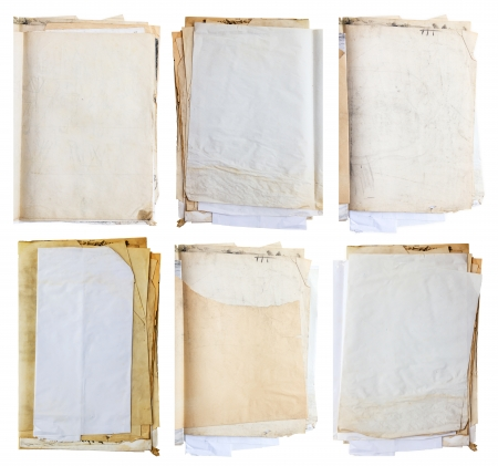 Stack of old shabby paper   with dirty stains photo