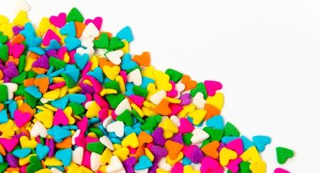カラフルな砂糖の振りかけるフレーム 写真素材
