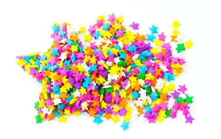 Star shaped made from colored sprinkles Stock Photo