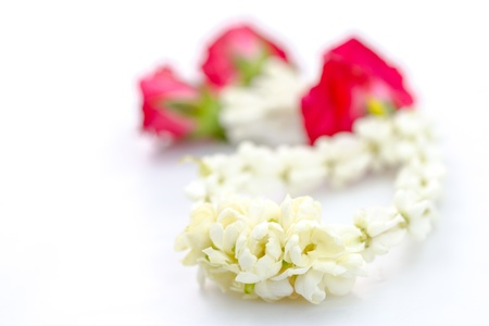 Close-up of Jasmine garland isolated on white background