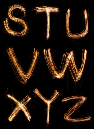 s curve: sparkler firework light alphabet S-Z Stock Photo