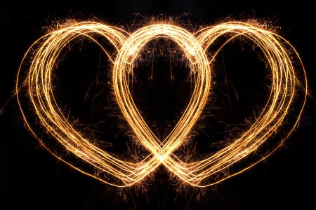 Valentines Day -  Hard Shape sparkler firework  alphabet Stock Photo